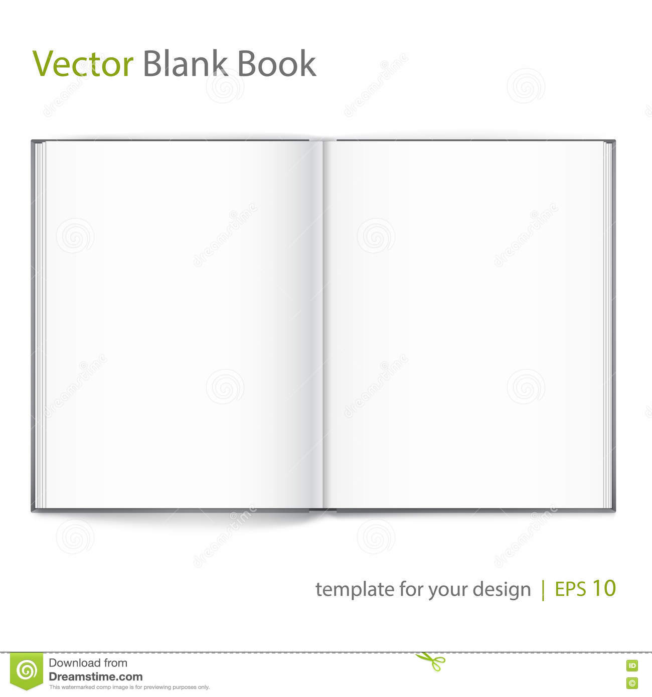 Open Book Cover Template : Blank of open book with cover on white background