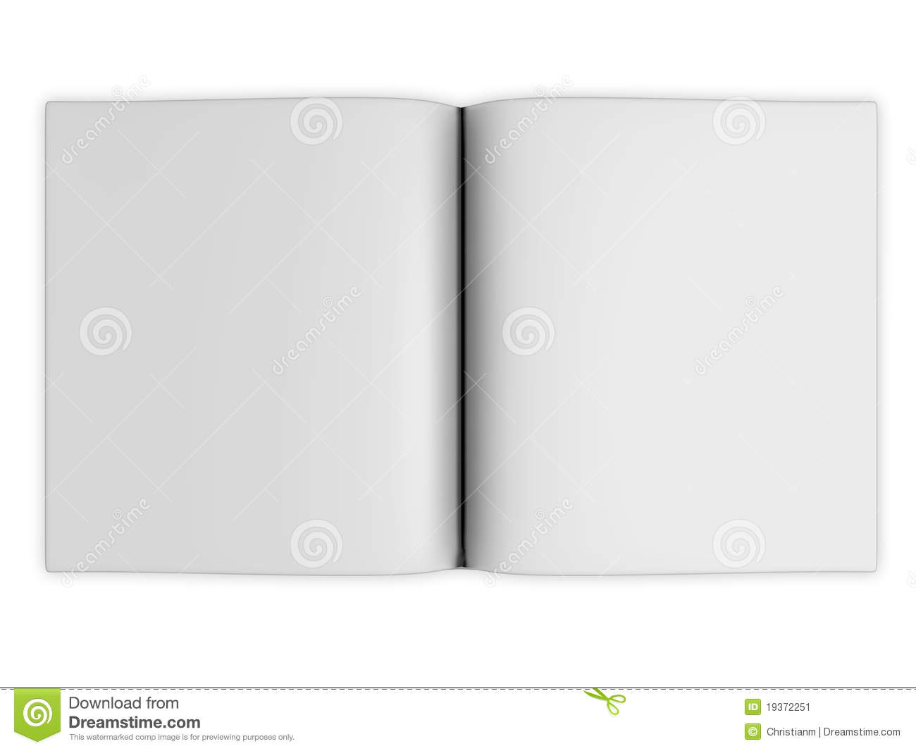 Blank open book pages