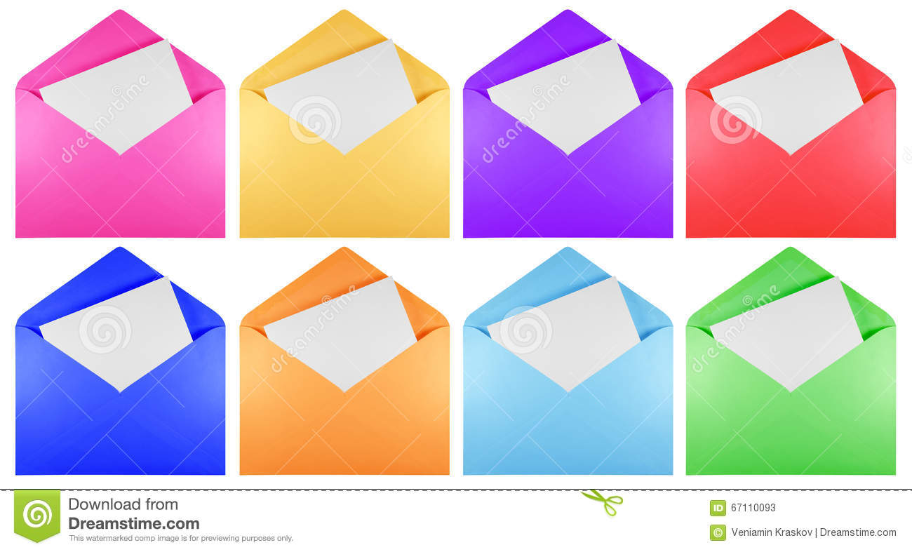 Blank Open Envelope - Colorful Stock Image - Image of