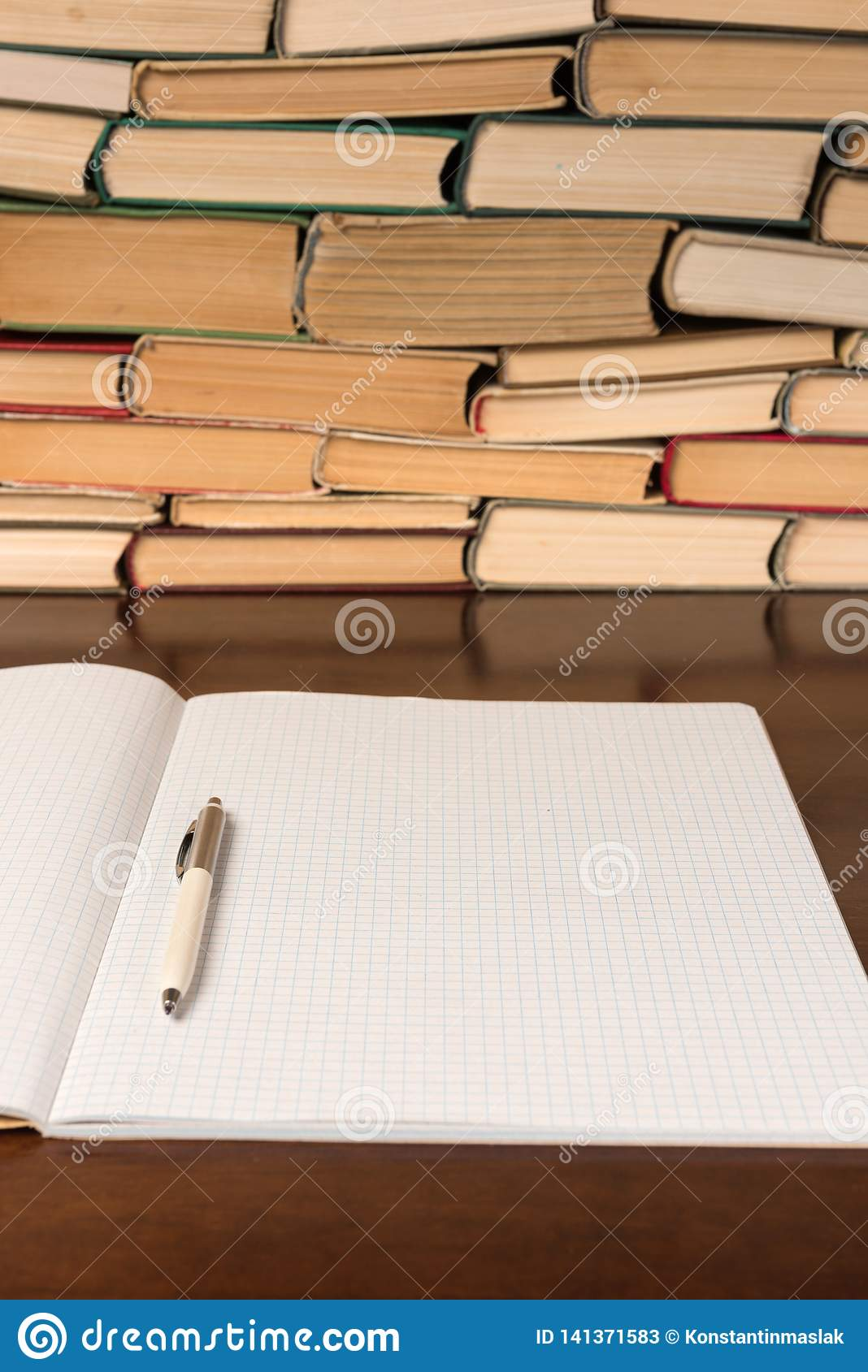 Blank Notepad On The Table With Books Stock Image - Image of diary, education: 141371583
