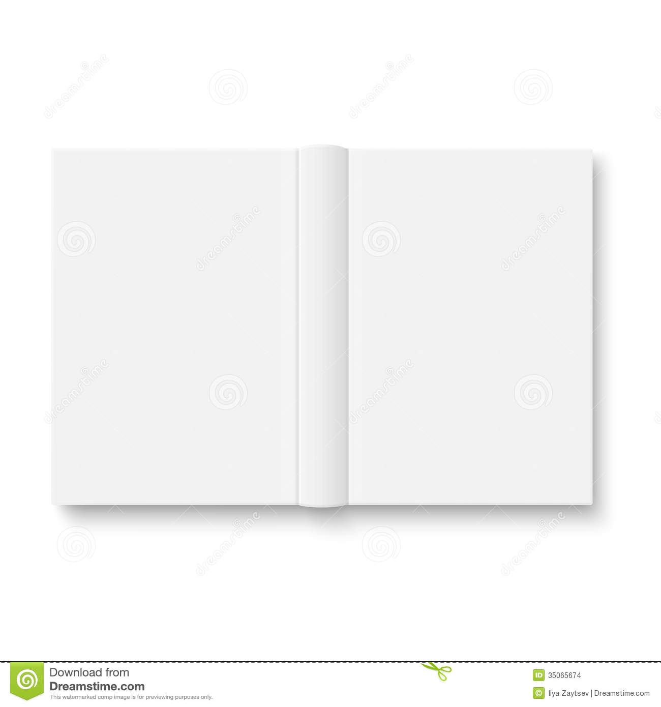 Empty Book Cover Template ~ Blank opened book template with soft shadows stock images
