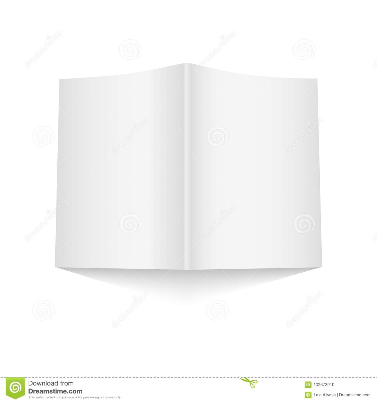 Blank Opened Magazine Cover Template On White Background With Soft