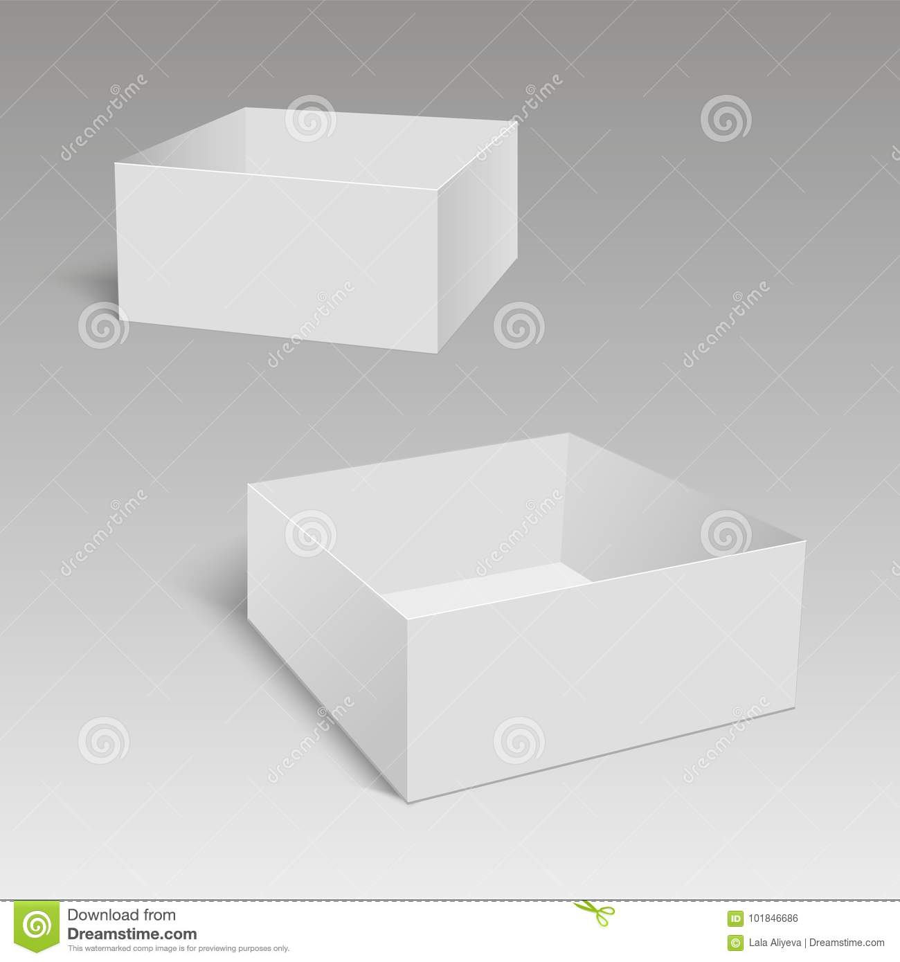 Blank Of Opened Paper Or Cardboard Box Template. Vector Illustration ...