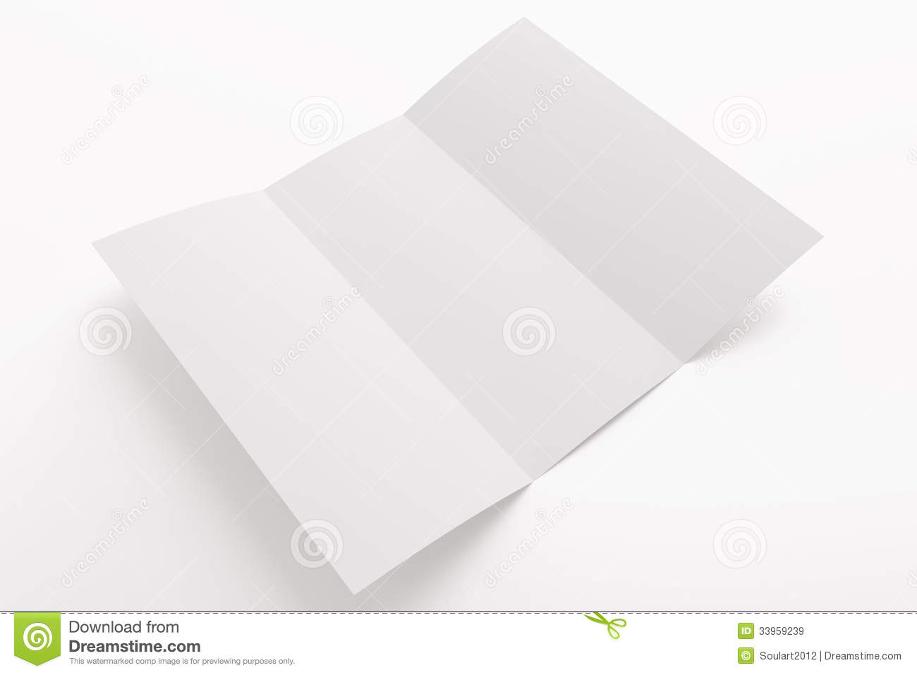 blank opened tri fold brochure isolated on white royalty free