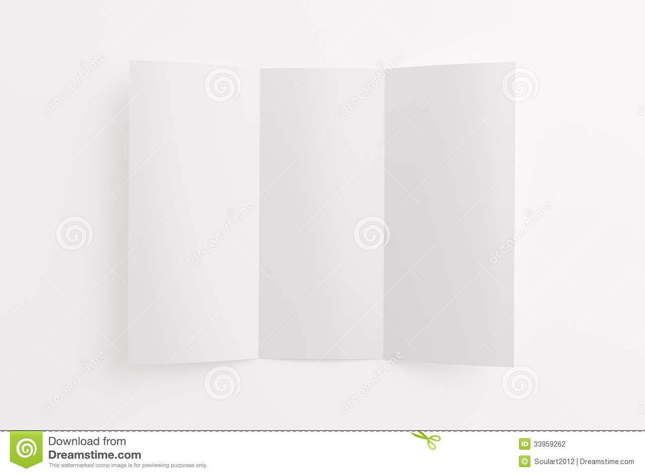 blank opened tri fold brochure isolated on white stock