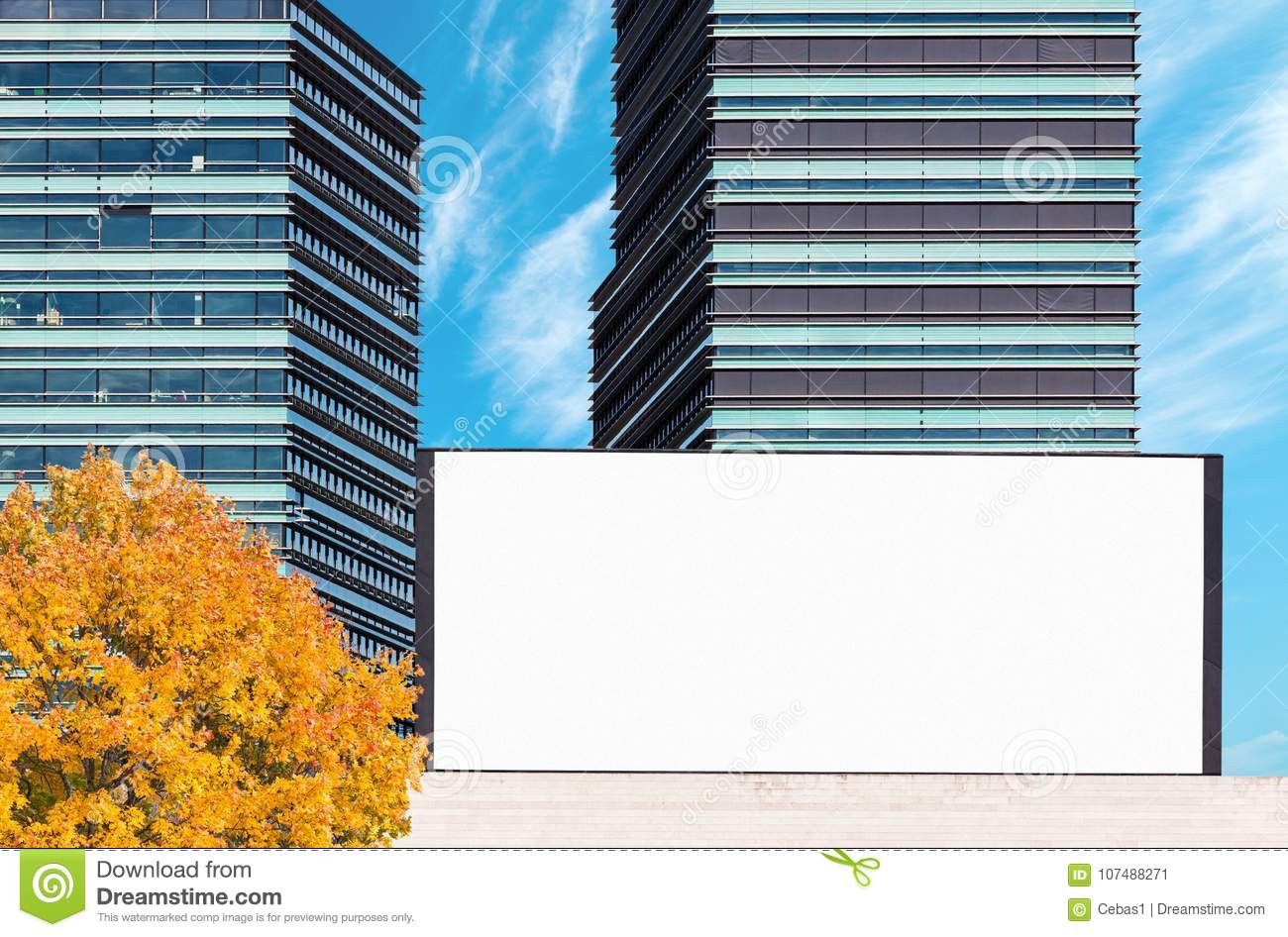 Blank outdoor billboard mockup with modern business buildings