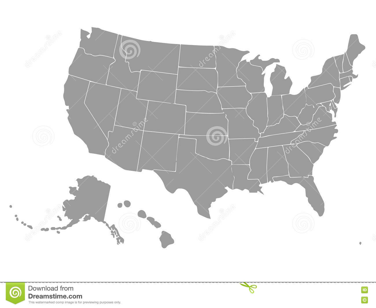 Blank Outline Map Of USA. Vector. Stock Vector ...