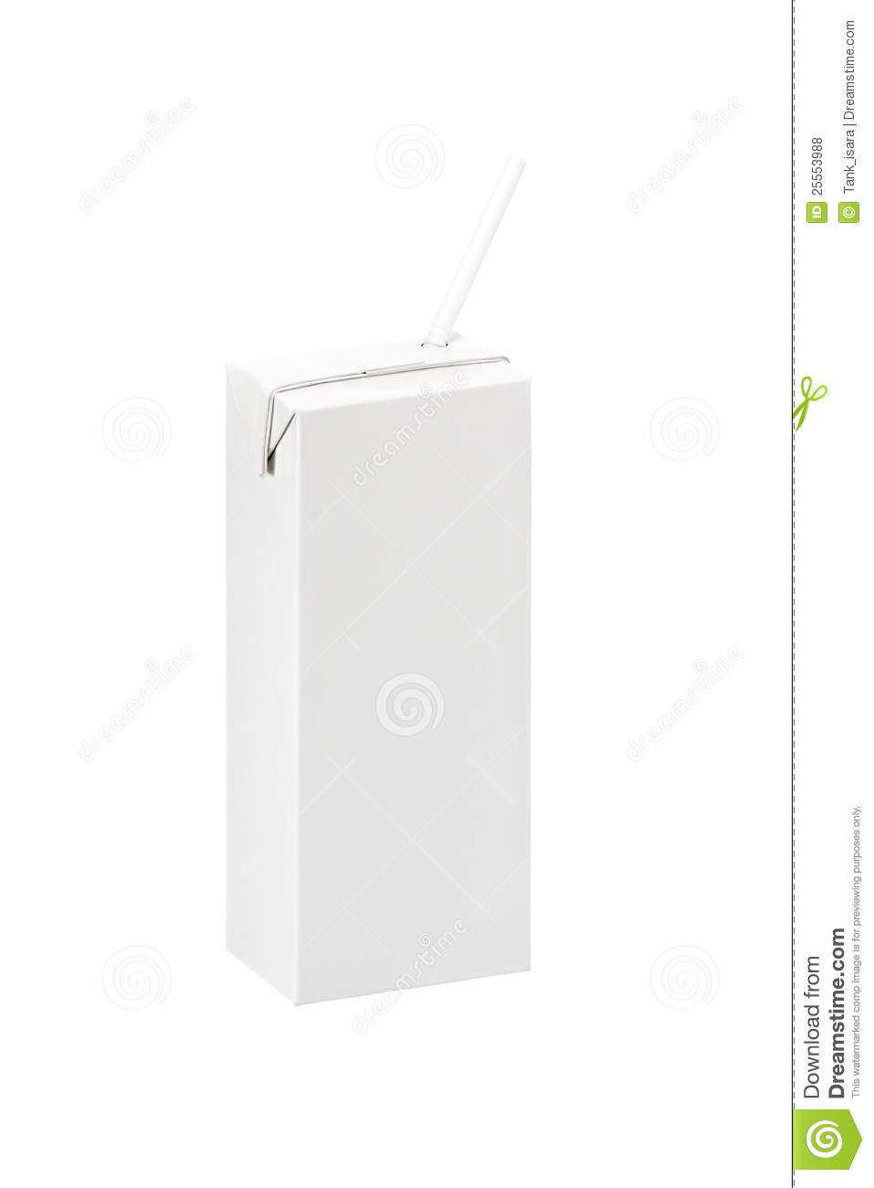 Blank Pack Box Of Milk Or Juice With Straw Royalty Free