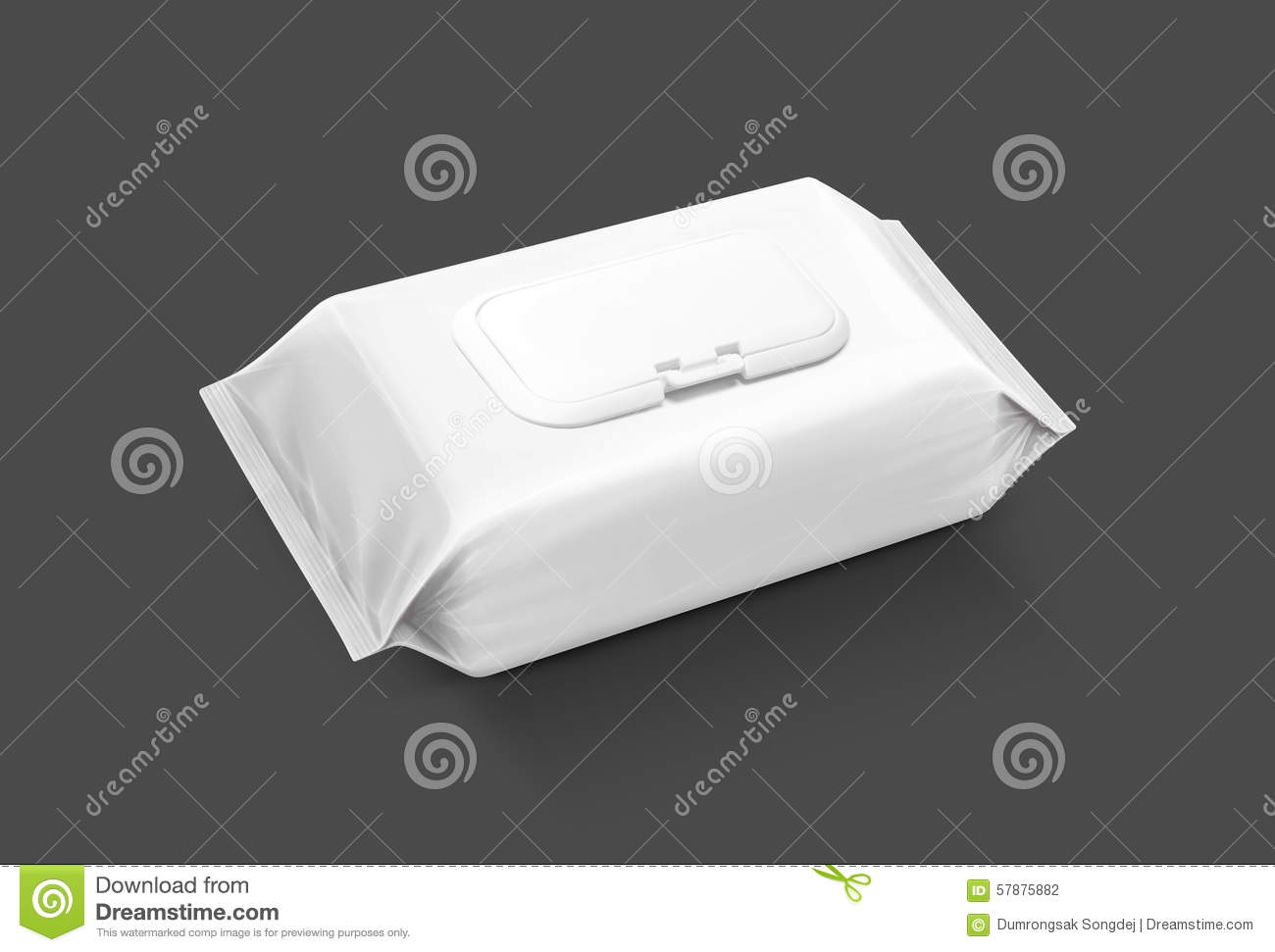 Blank Packaging Wet Wipes Pouch On Gray Background Stock