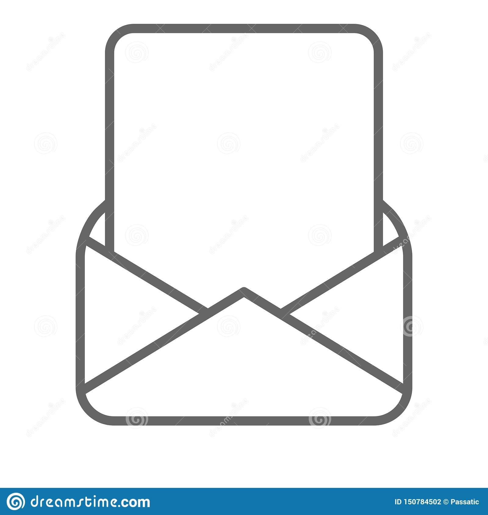 Blank page in mail envelope black white