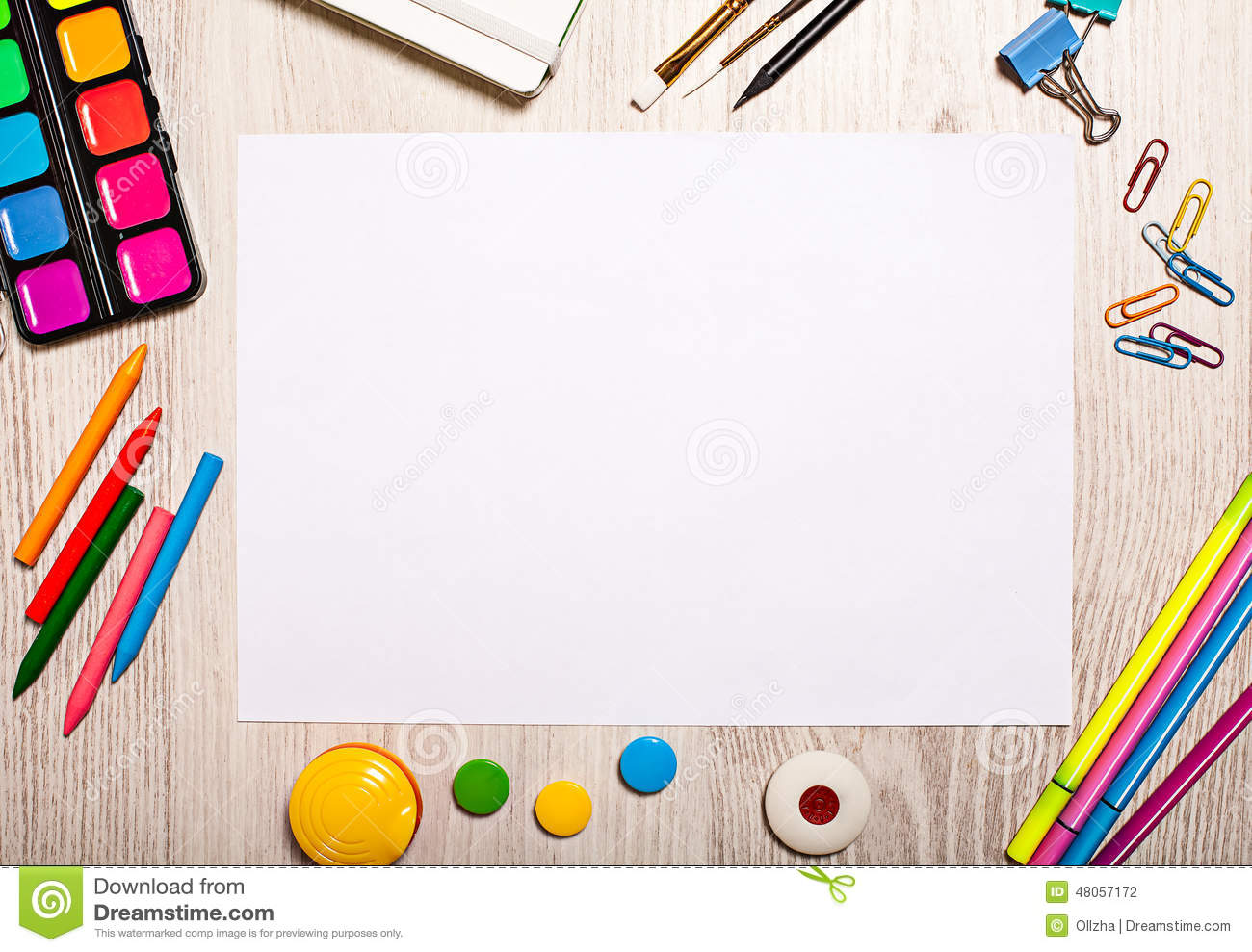 Blank Page Mockup On Table With Office Tools Stock Photo - Image ...