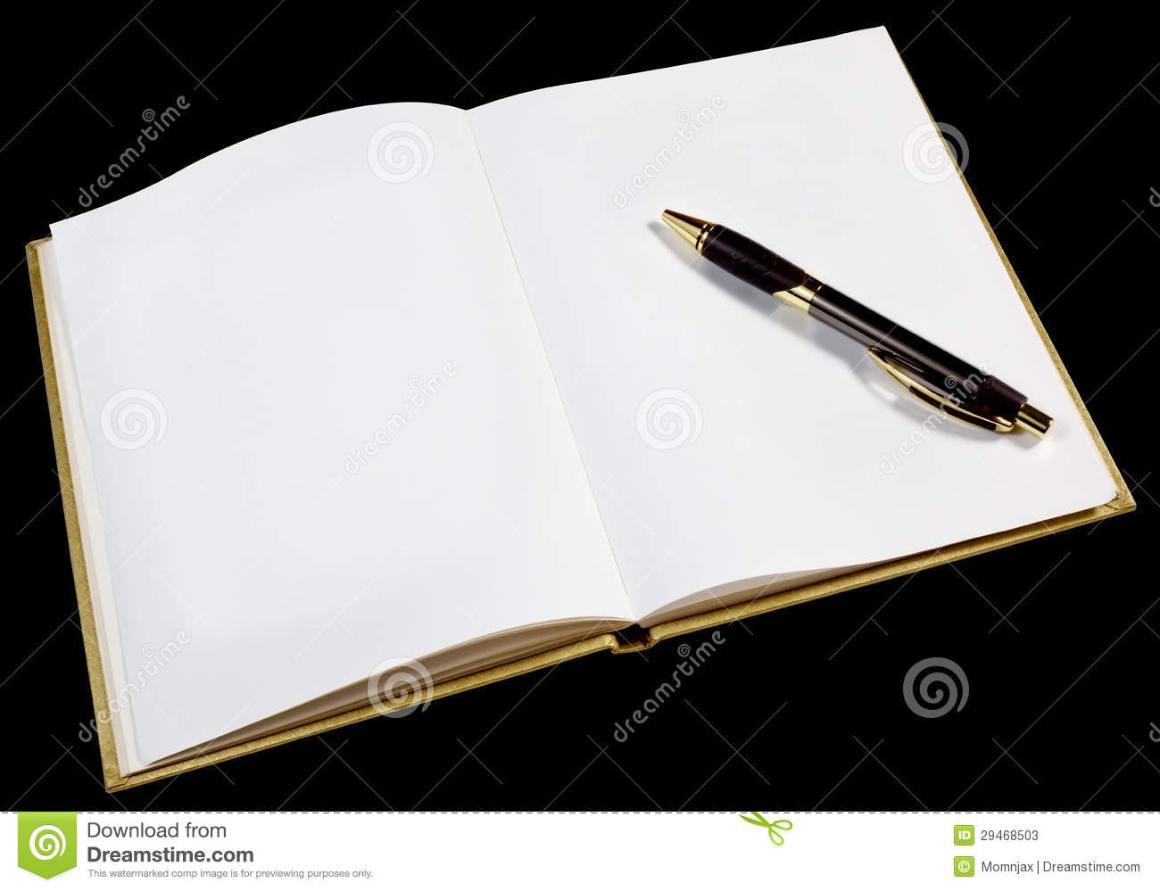 Blank Page In Open Gold Book Stock Photos