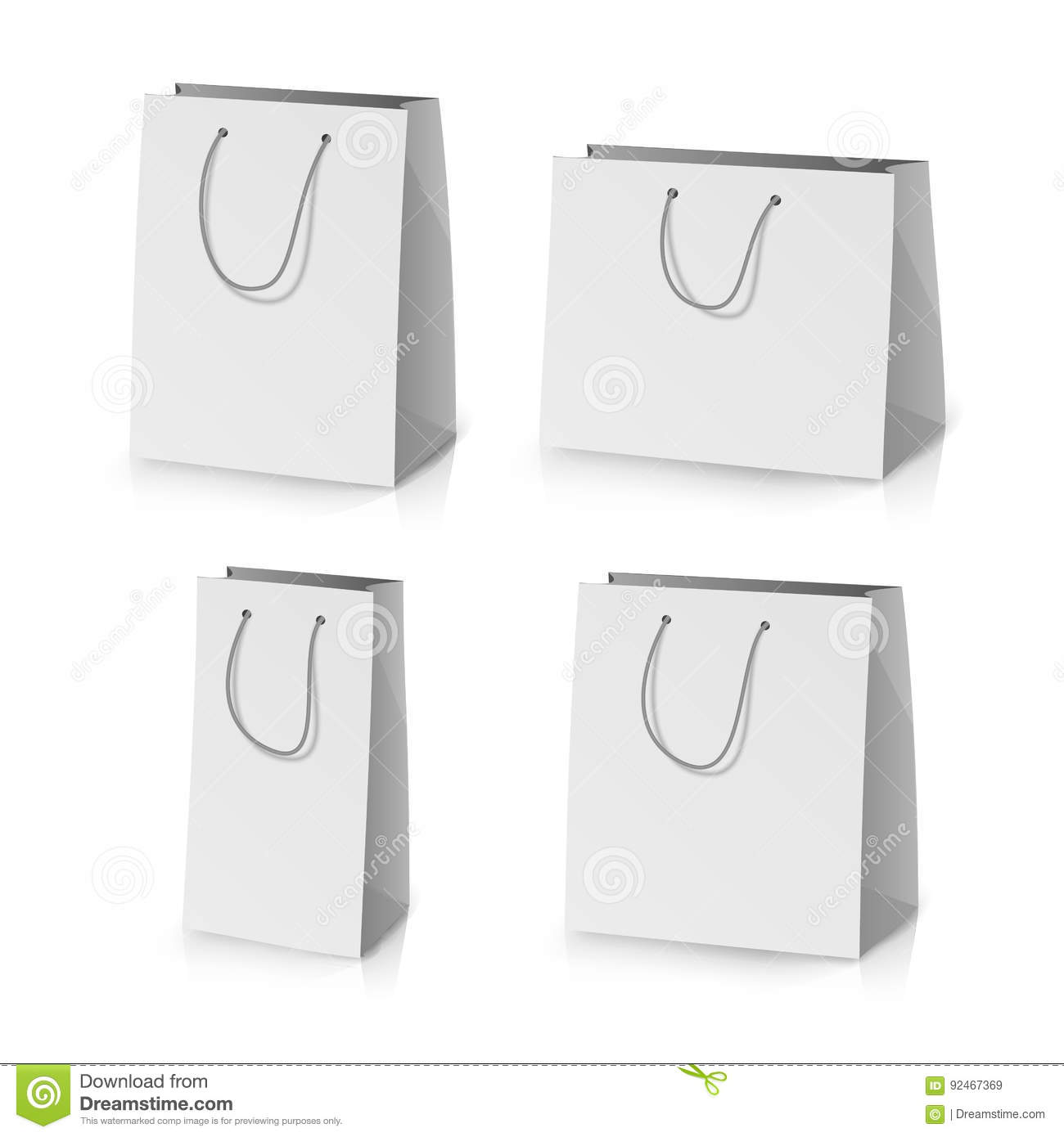 Blank Paper Template | Blank Paper Bag Template Vector Realistic Gift Bag Illustration