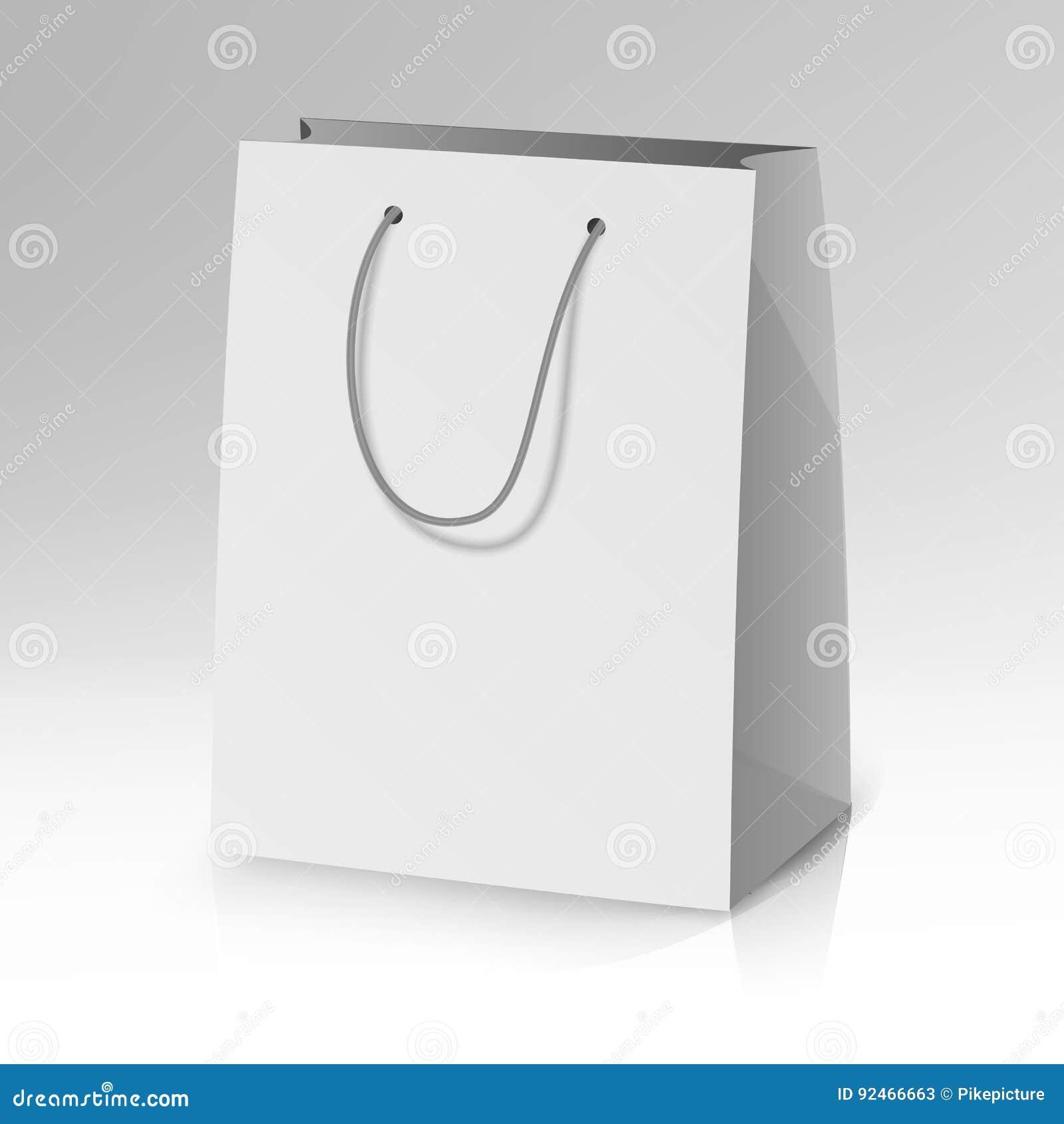 Blank Paper Bag Template Vector. Realistic Shopping Pocket Bag Illustration