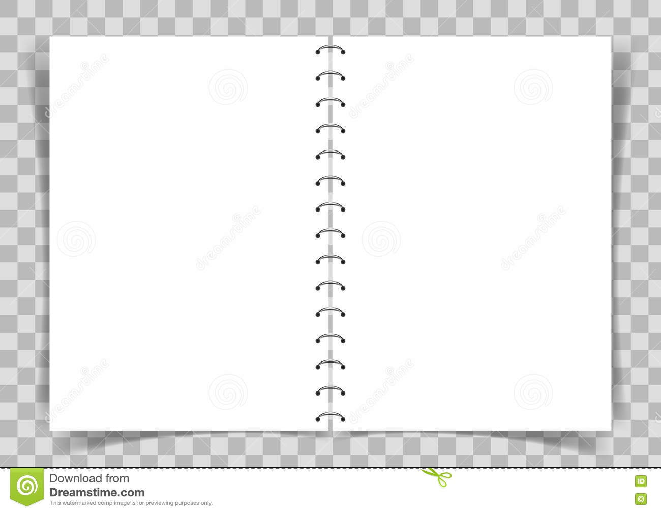 Blank Paper Book Connected With Spiral On Transparent Background – Blank Paper Background