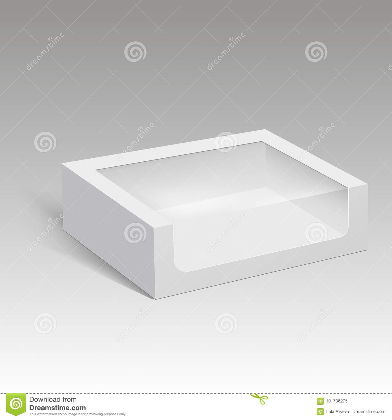 Blank paper box packaging for sandwich, food, gift or other products with plastic window. Vector illustration.