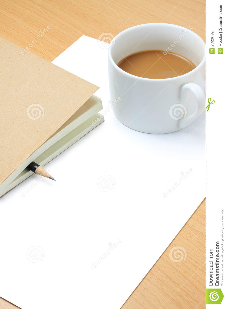 Blank Papercoffee Cuppencil And Book Stock Photography