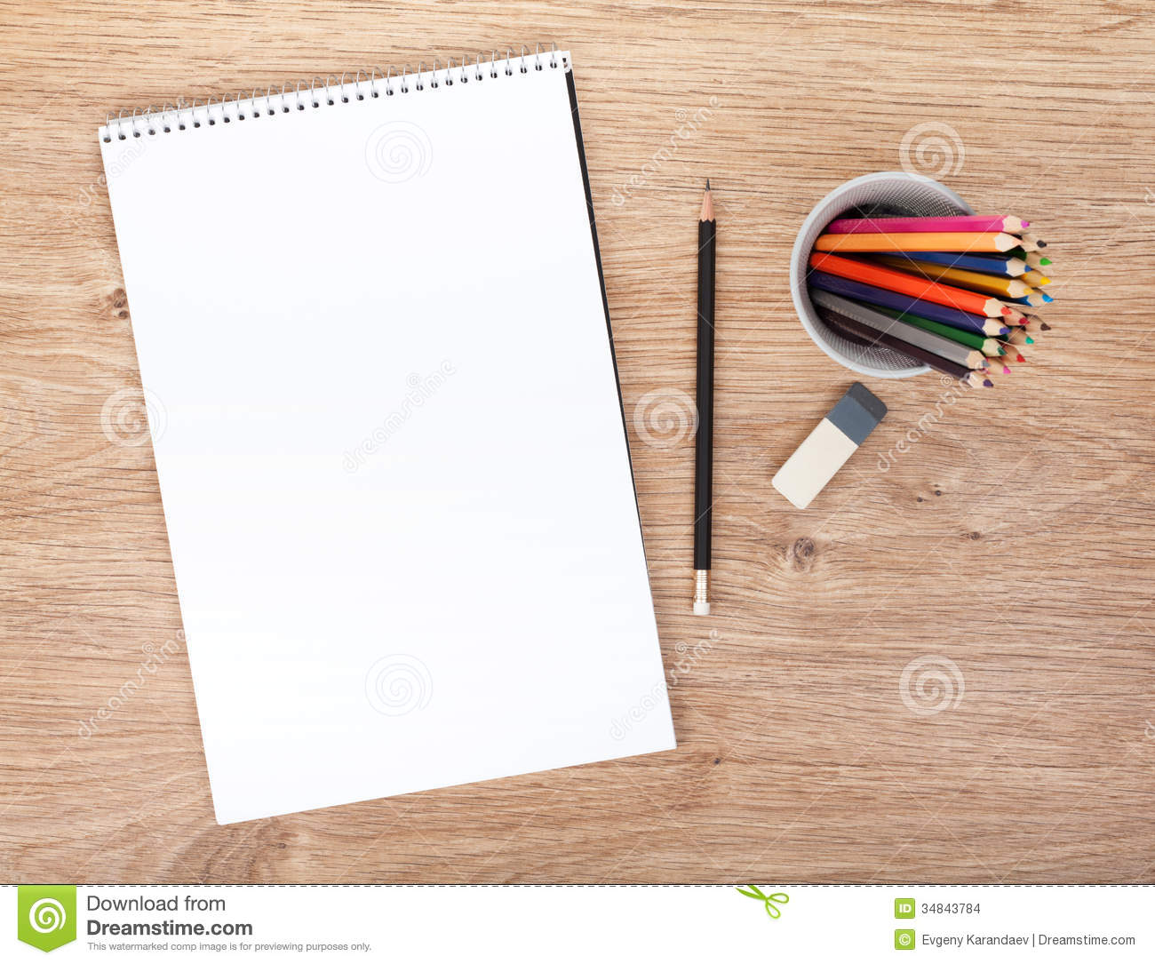 Office Table Design Blank Paper And Colorful Pencils Stock Images Image