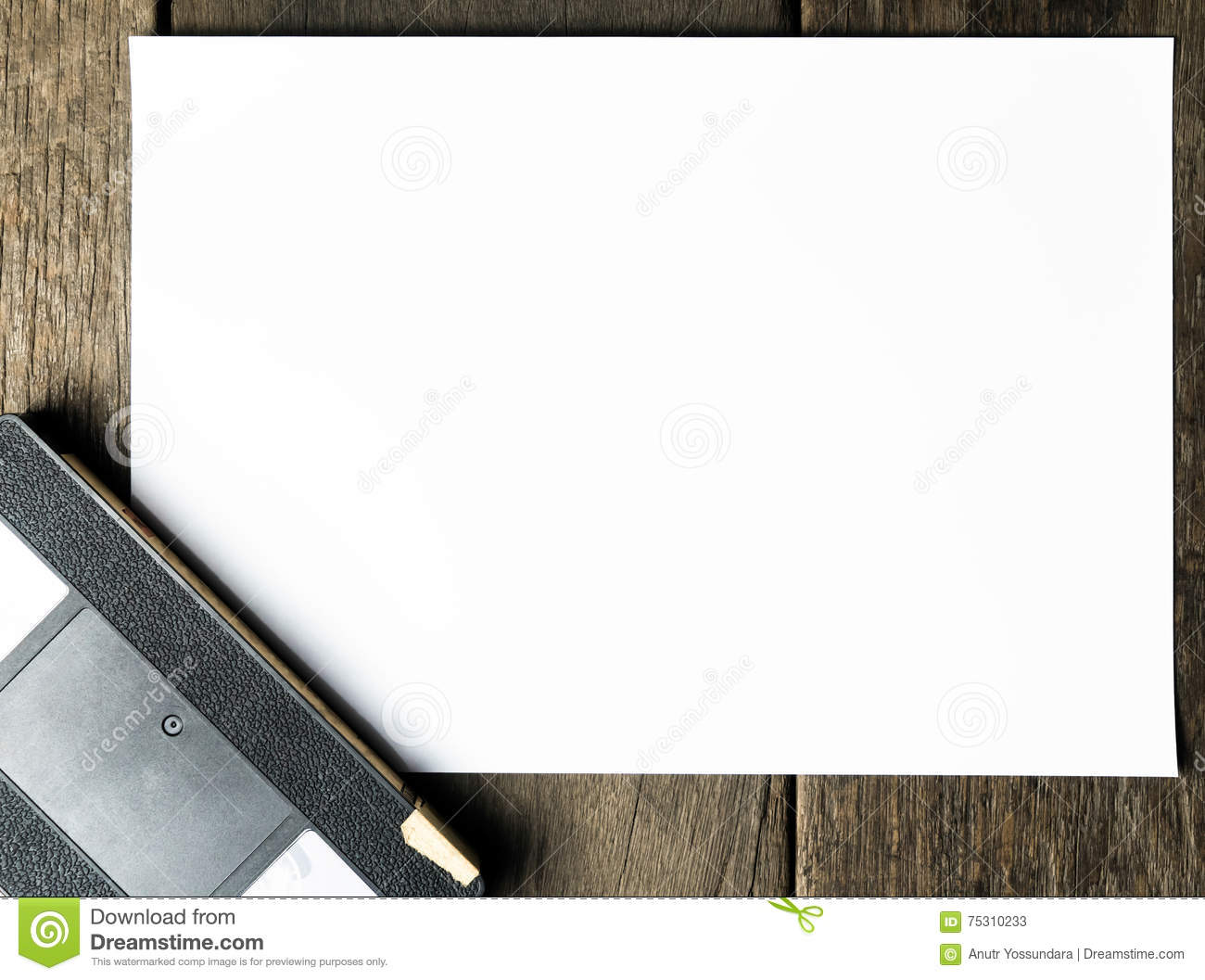 blank paper copy space for movie titles and credit stock image