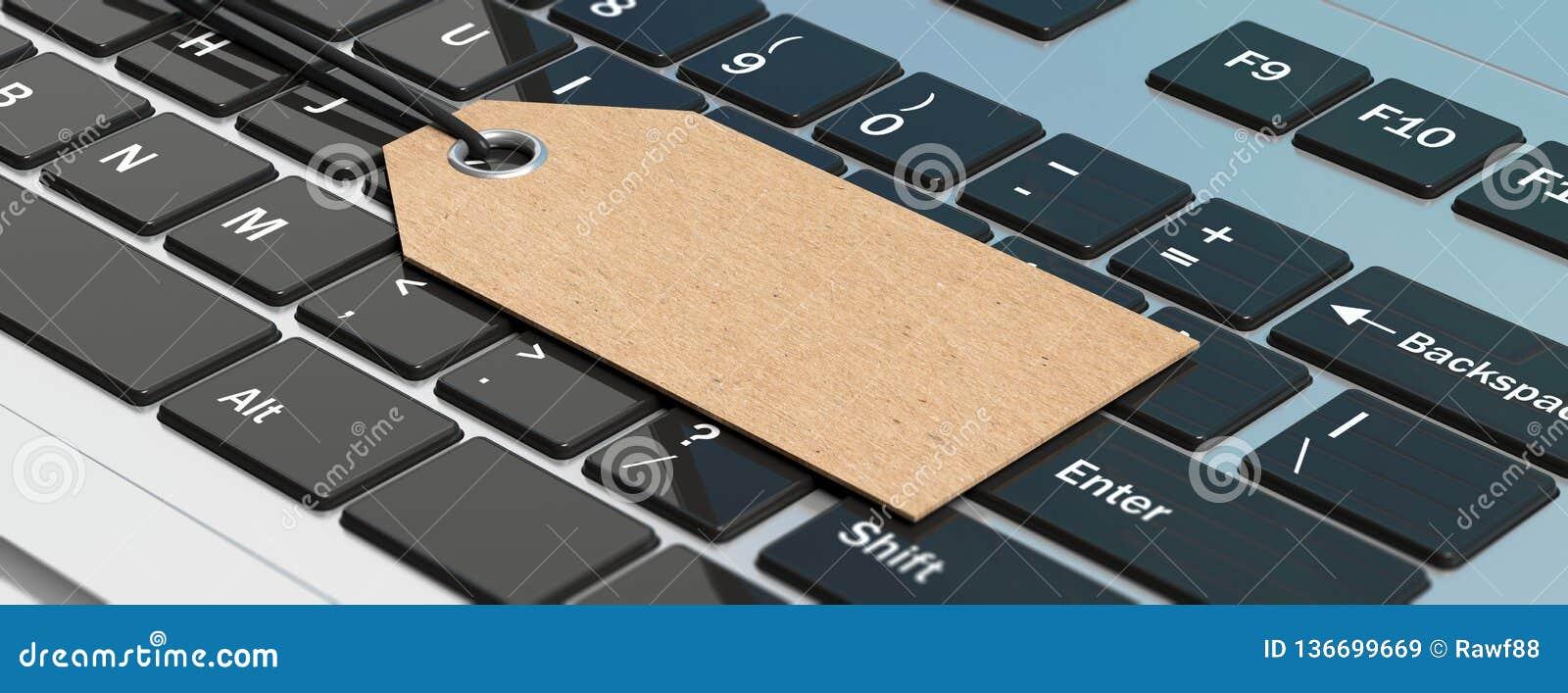 Blank Paper Gift Tag On A Computer Laptop Keyboard Banner 3d Illustration Stock Illustration Illustration Of Design Digital 136699669
