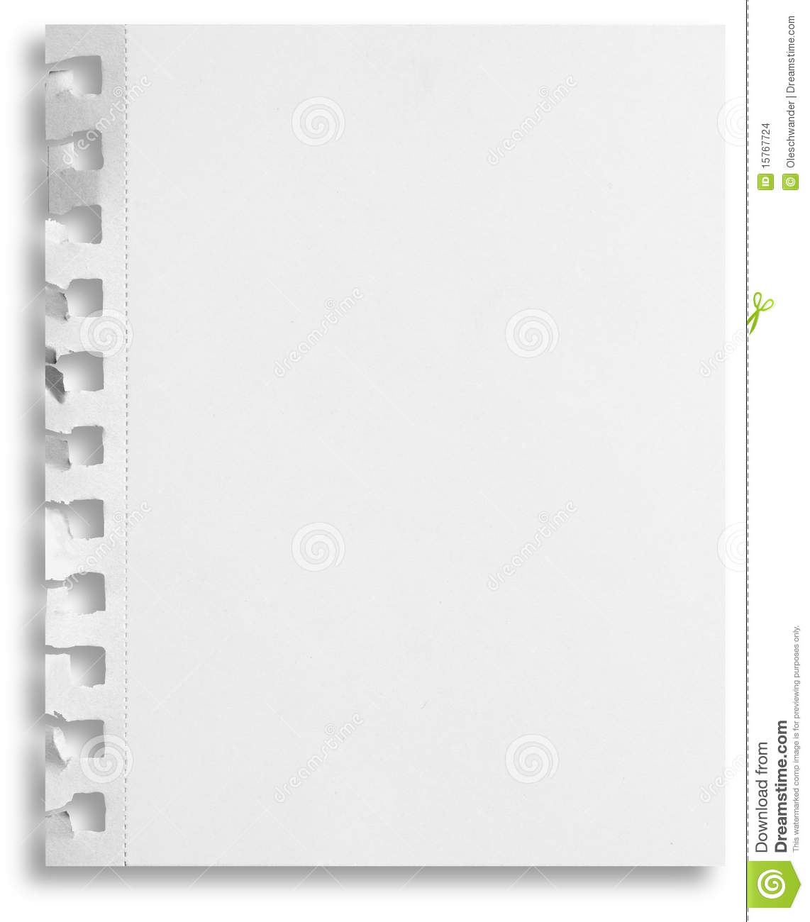 Blank paper isolated with holes and shadow