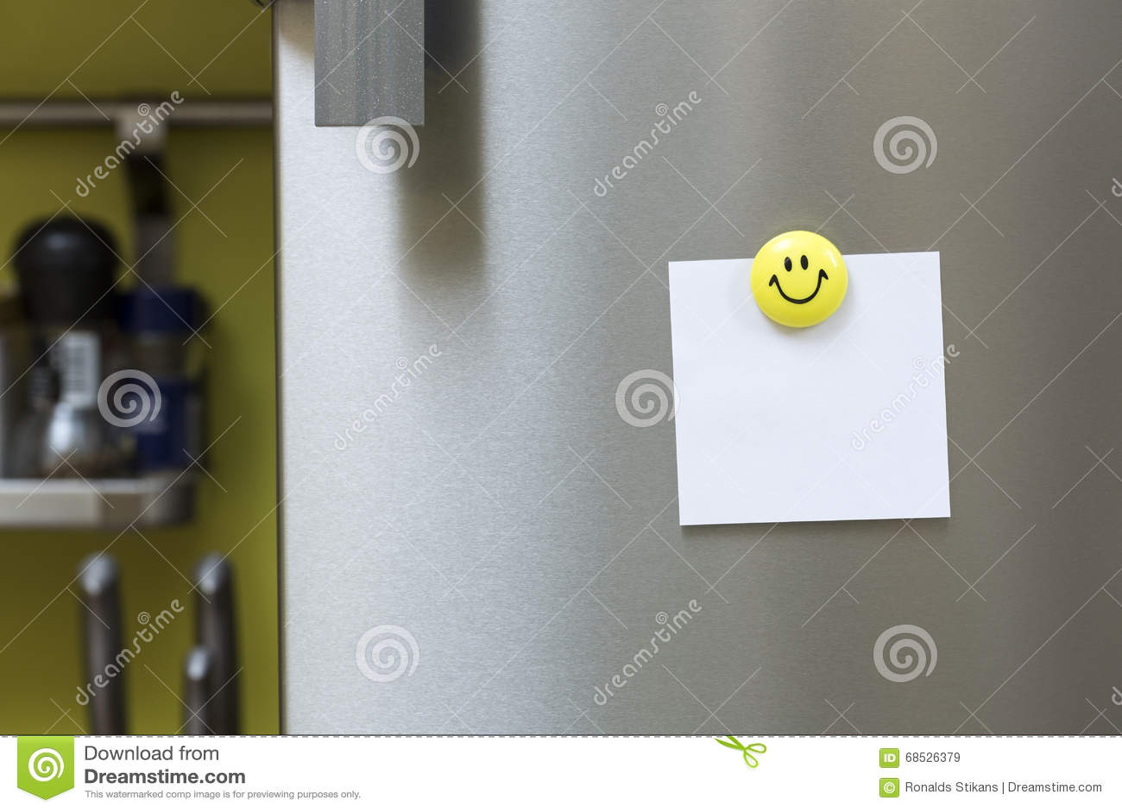 Blank Paper Note With Magnet Hanging On Fridge Door Stock Image ...