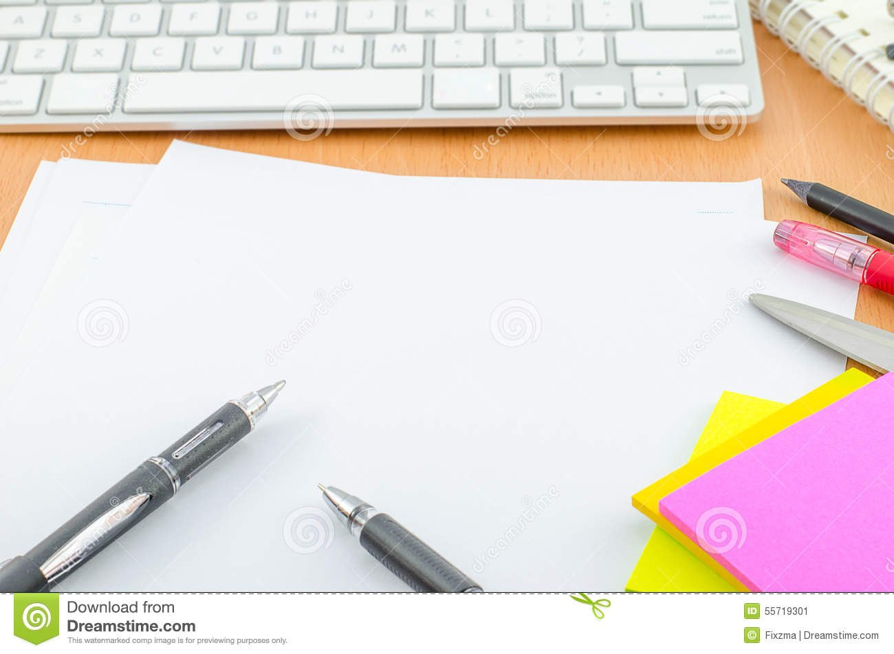 Swell Blank Paper With Pen And Color Note Paper Stock Image Download Free Architecture Designs Terchretrmadebymaigaardcom