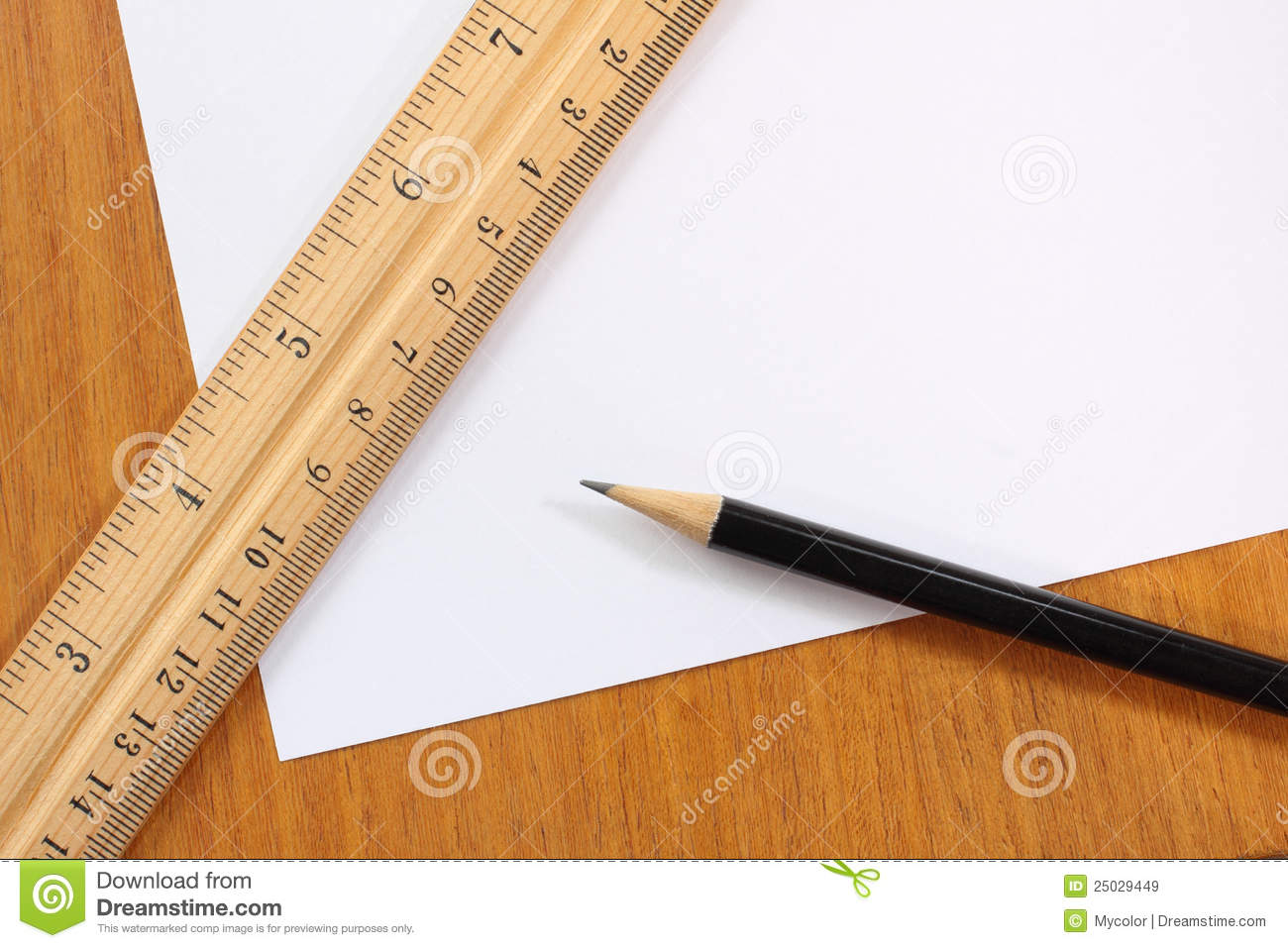 blank paper pencil and ruler stock image image of centimeter isolate 25029449