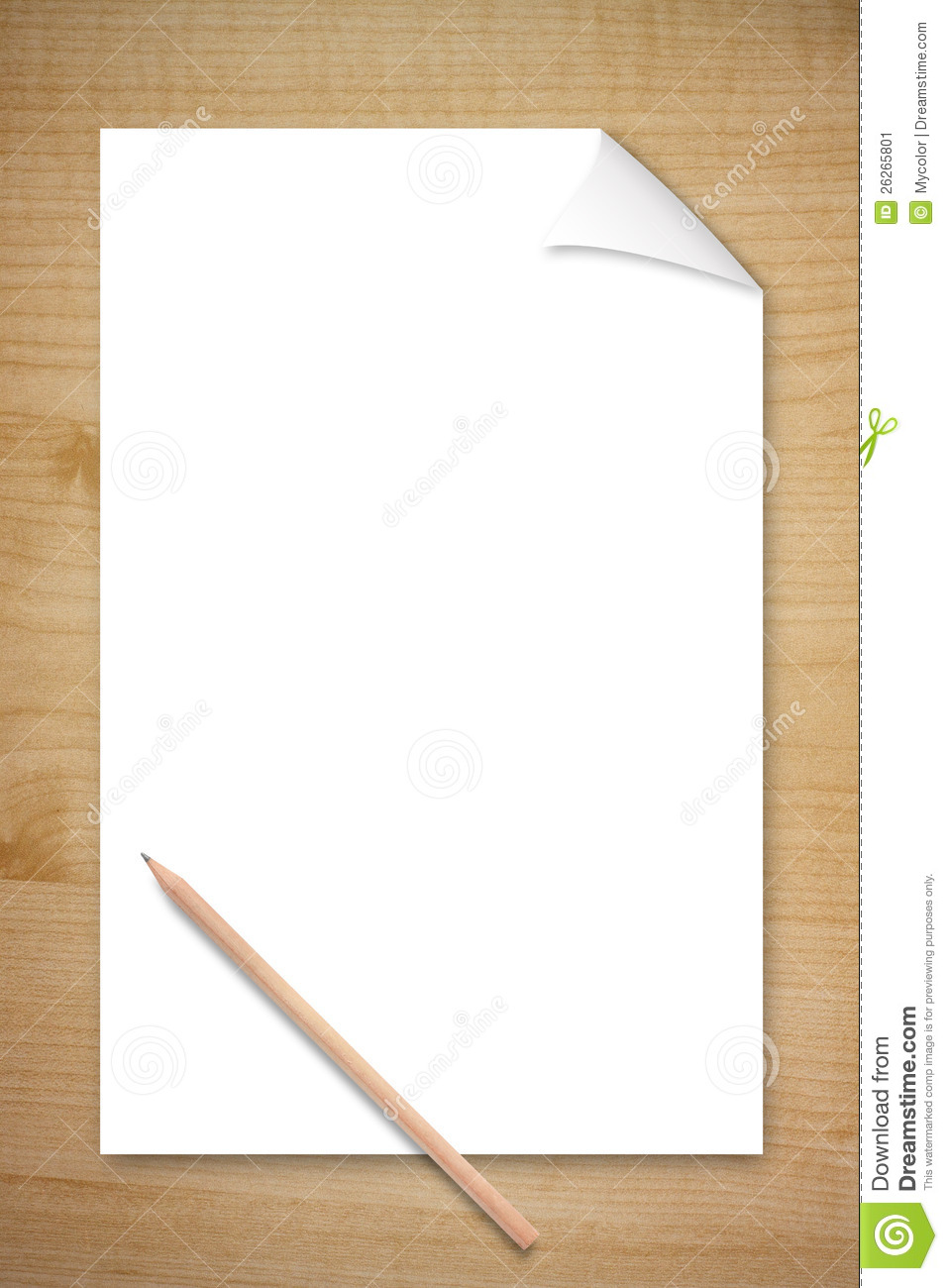 Blank Paper And Pencil On Wooden Table Stock Image - Image: 26265801