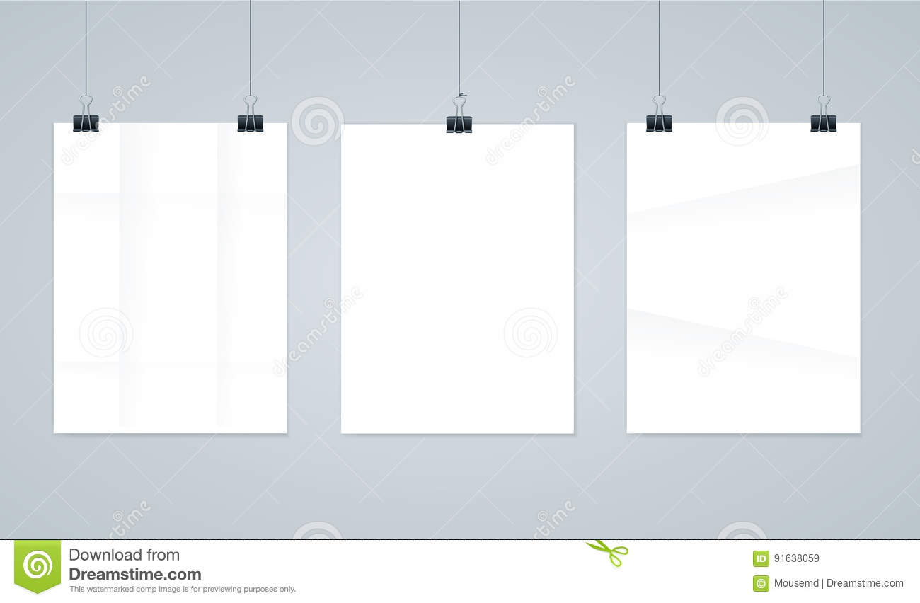 blank paper photo frames or poster templates vector stock vector