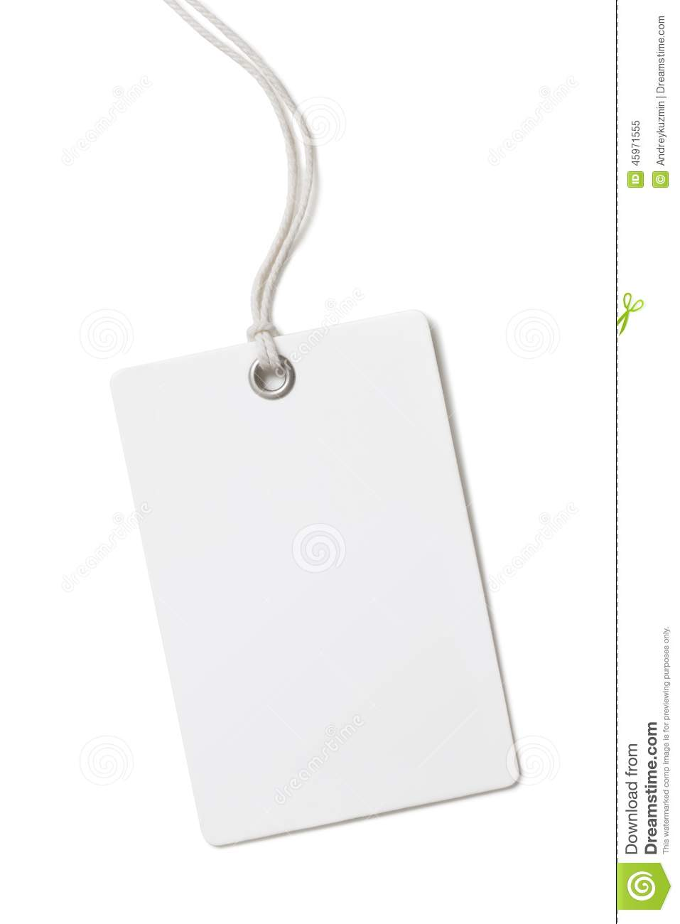 Blank Paper Price Tag Or Label Isolated On White Stock Photo ...