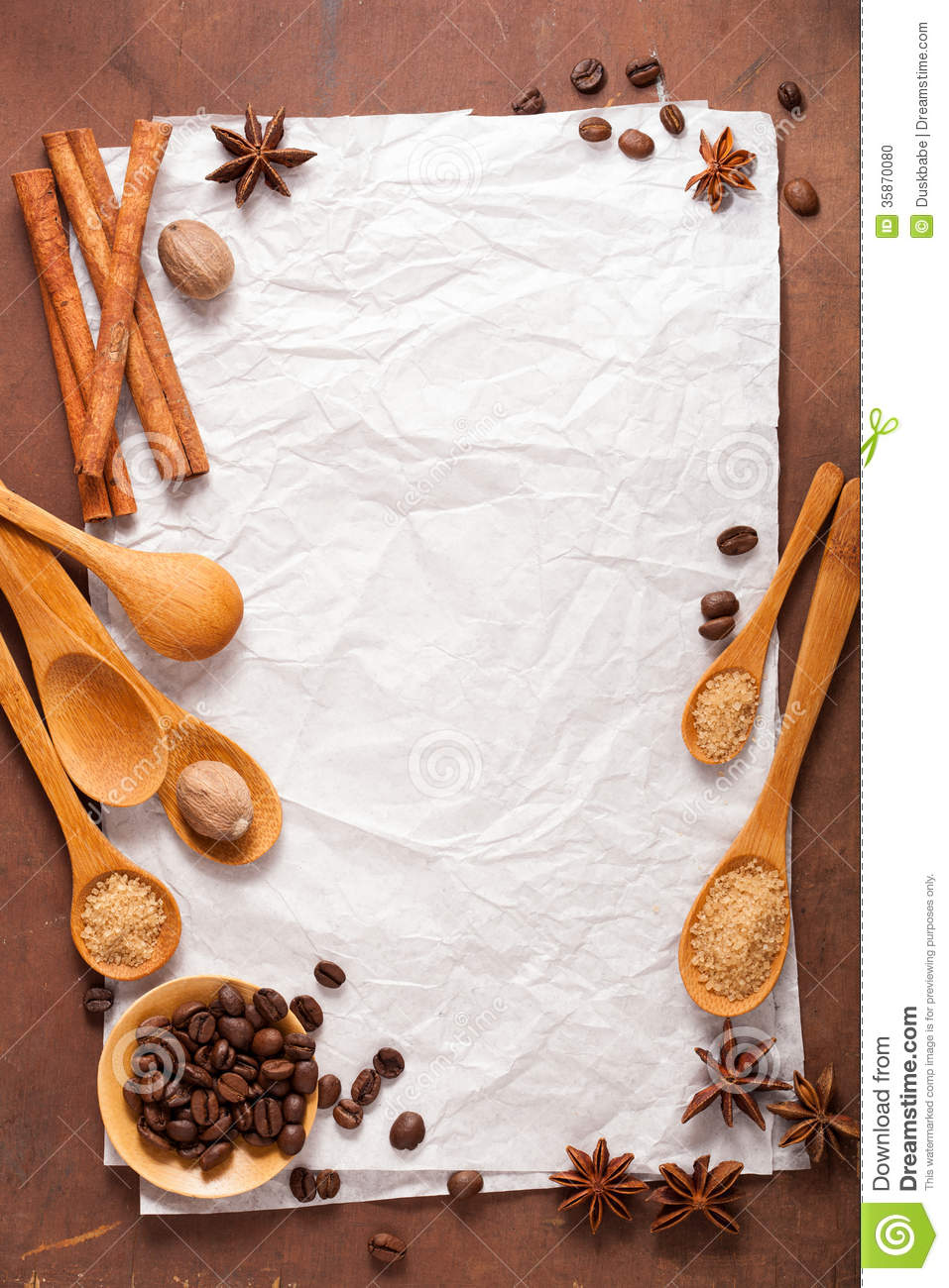 blank paper for recipes over wooden background with coffee