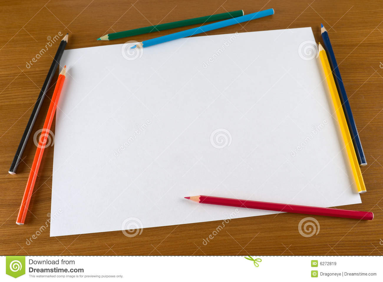 Blank Paper Sheet And Color Pencils On Table Royalty Free Stock Images ...
