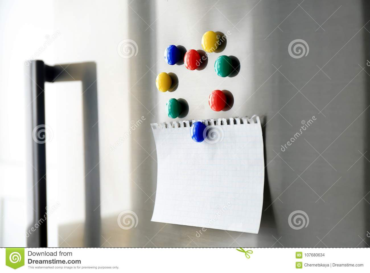 Blank Paper Sheet With Magnets Stock Photo - Image of