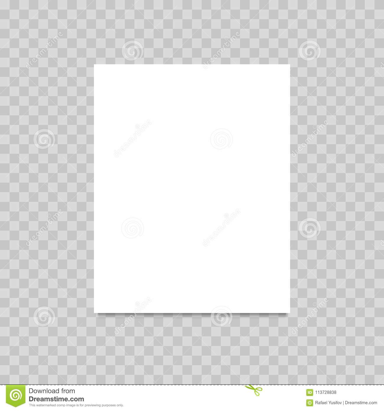 Blank Of Paper Sheet On Transparent Background Vector Stock