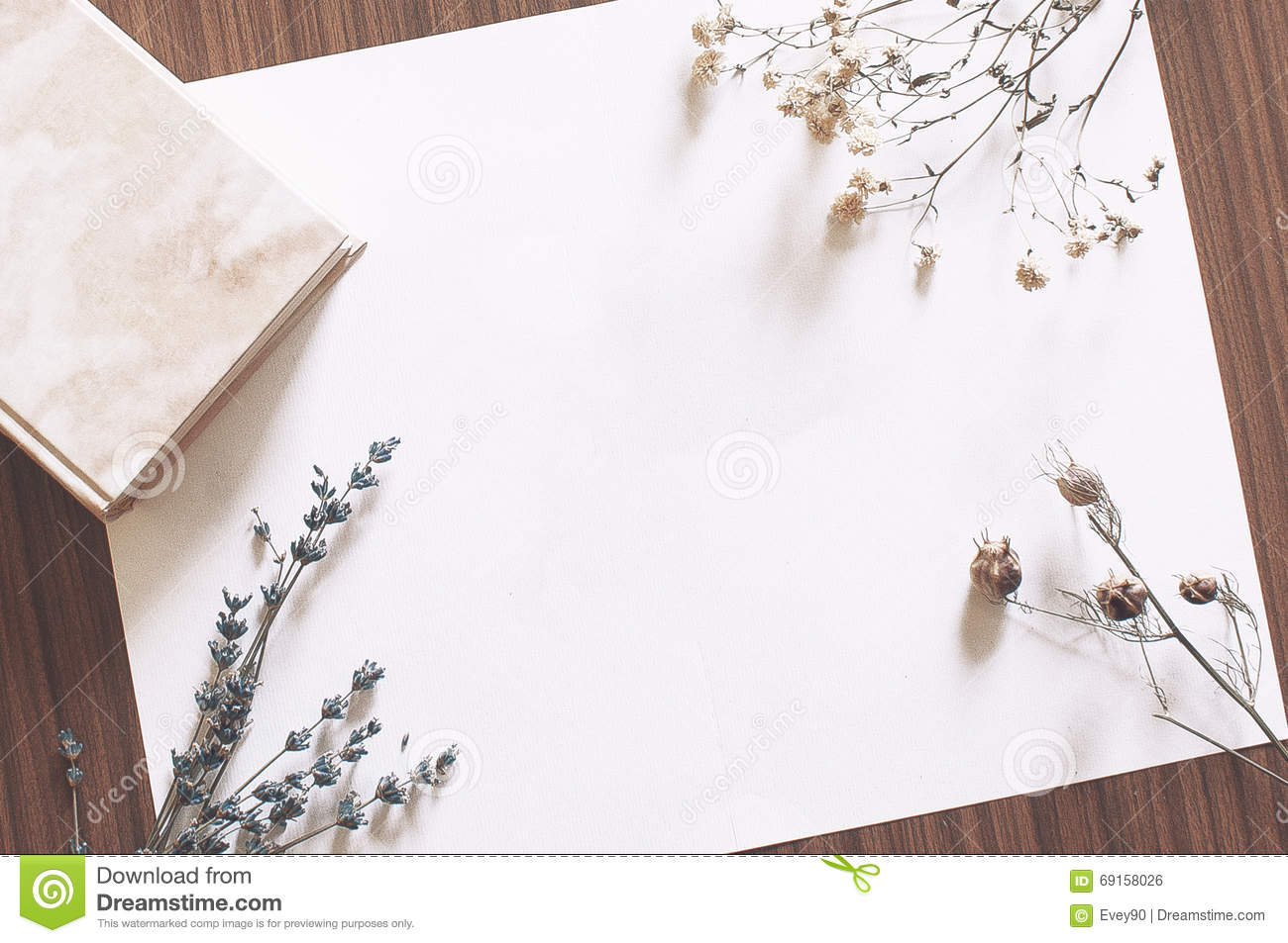 Blank Paper On Table With Book And Dried Flowers Stock Photo Image