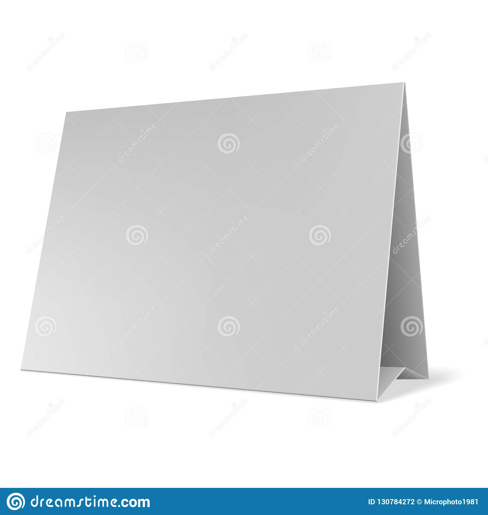 blank paper table cards vector blank table tent isolated on grey