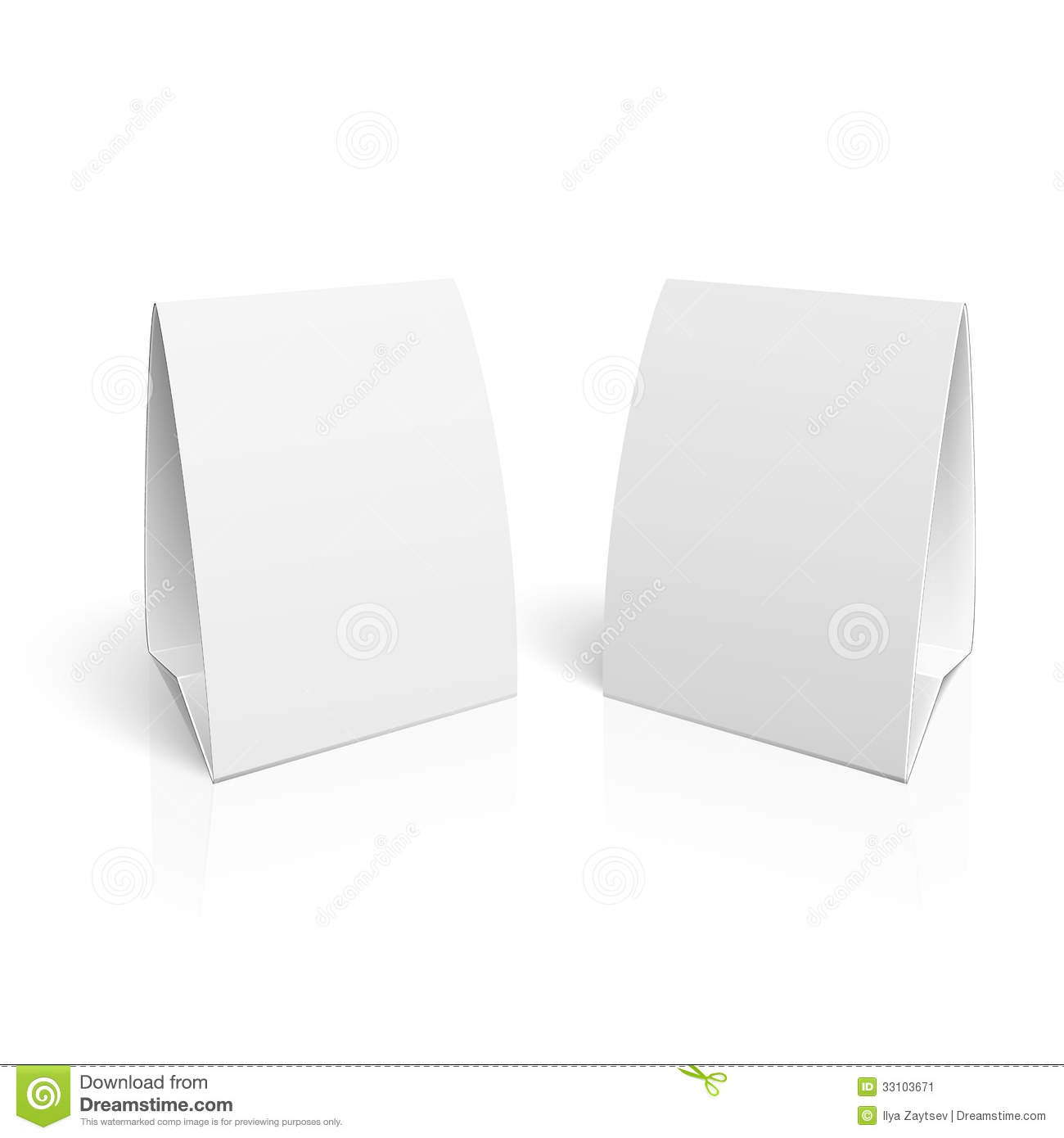 Blank paper table cards on white background with reflections. Vector ...