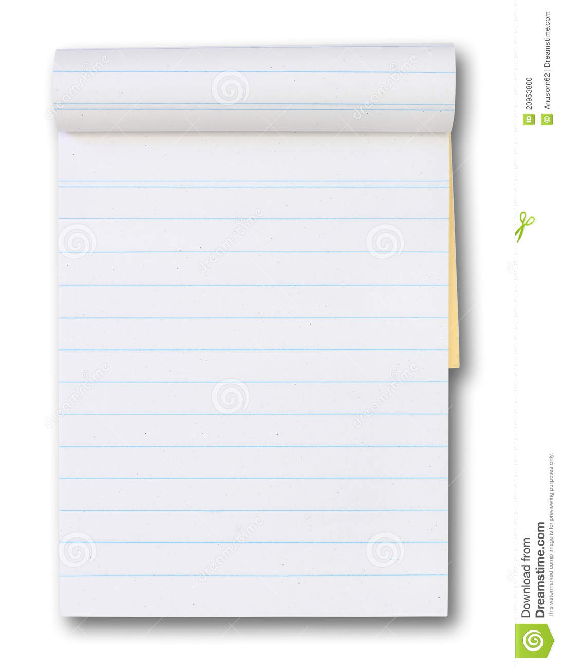 Drawing Lines With Tablet : Blank paper tablet with a blue lines stock photo image