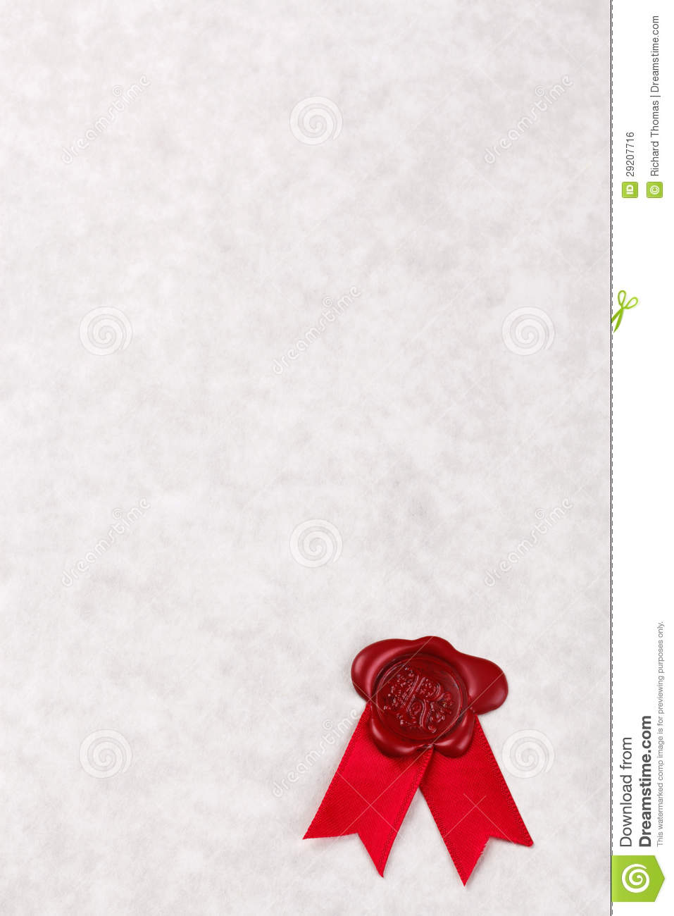 blank parchment paper with red wax seal royalty free stock