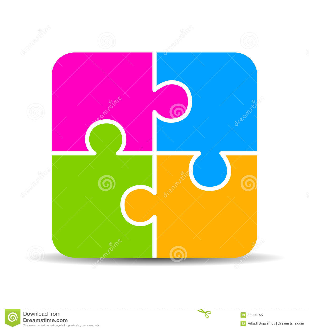 Blank 4 Part Puzzle Chart Stock Vector Image 56305155