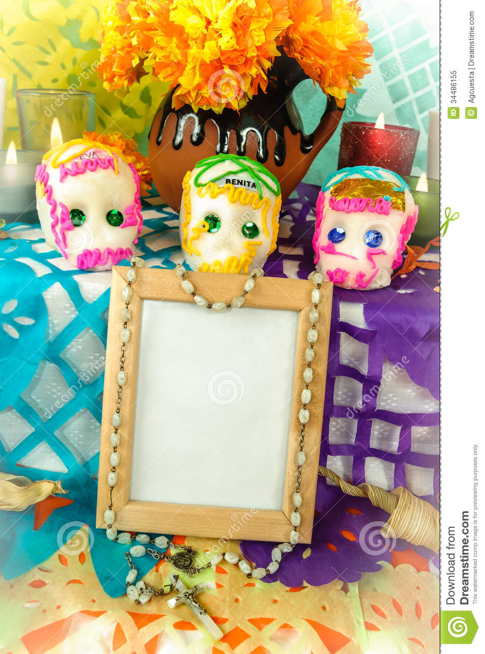 Blank Photo Frame On A Day Of The Dead Altar Dia De Muertos Stock