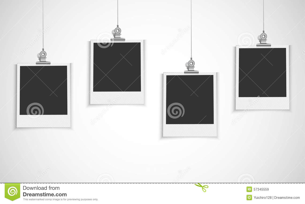Blank Photo Frame Hanging On A Line With Paper Clip Stock Vector ...