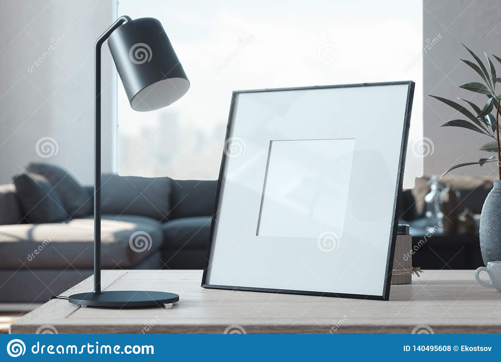 Blank photo frame on wooden table in stylish living room. 3d rendering.