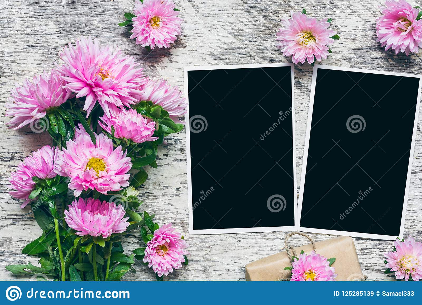 Blank Photo Frames With Beautiful Bouquet Of Pink Aster Flowers And ...