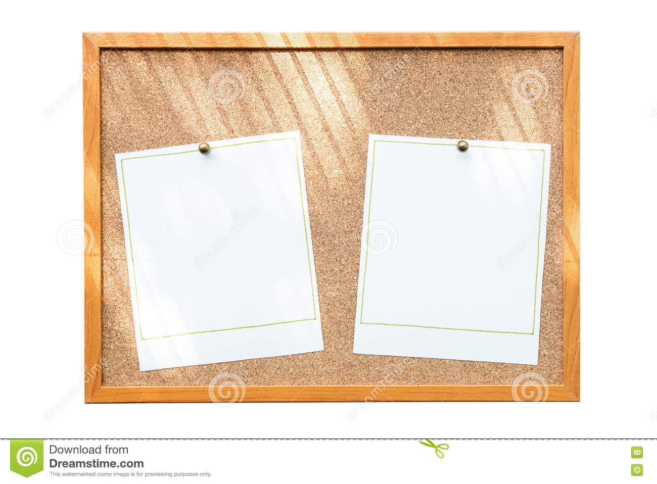 Blank Photo Frames On Cork Board With Window Shadow Isolated On ...