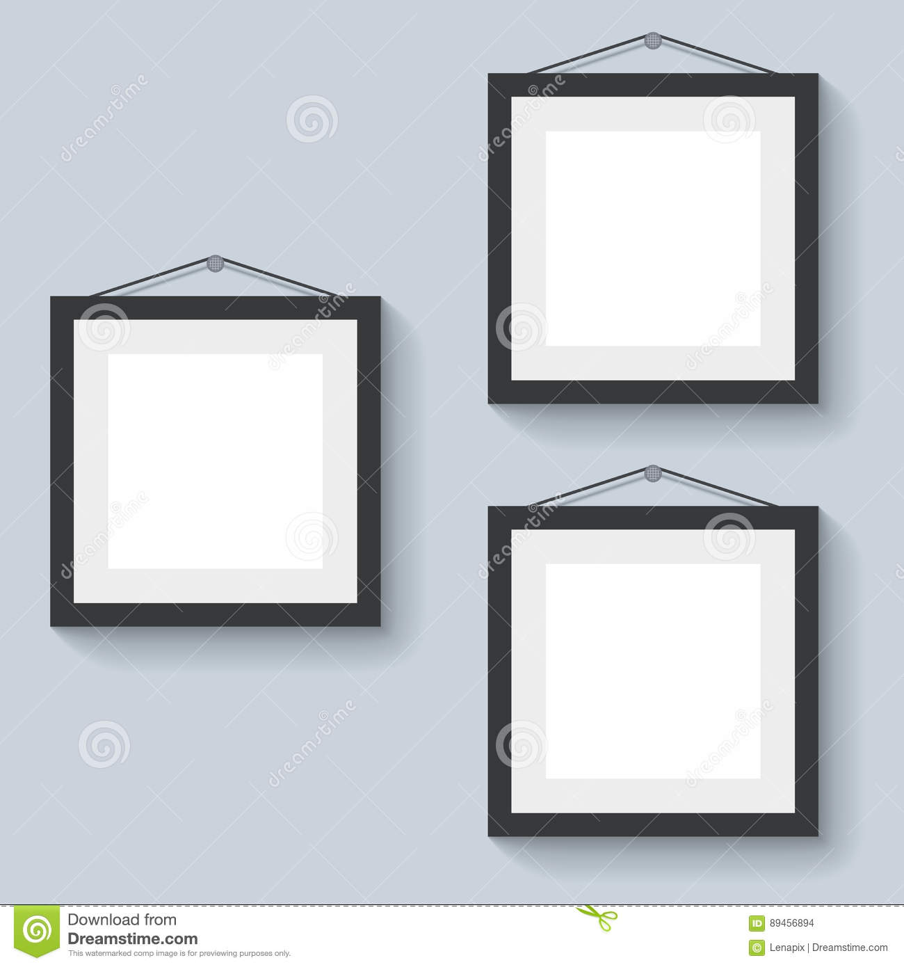 Blank Photo Frames Hanging On The Wall Stock Vector - Illustration ...