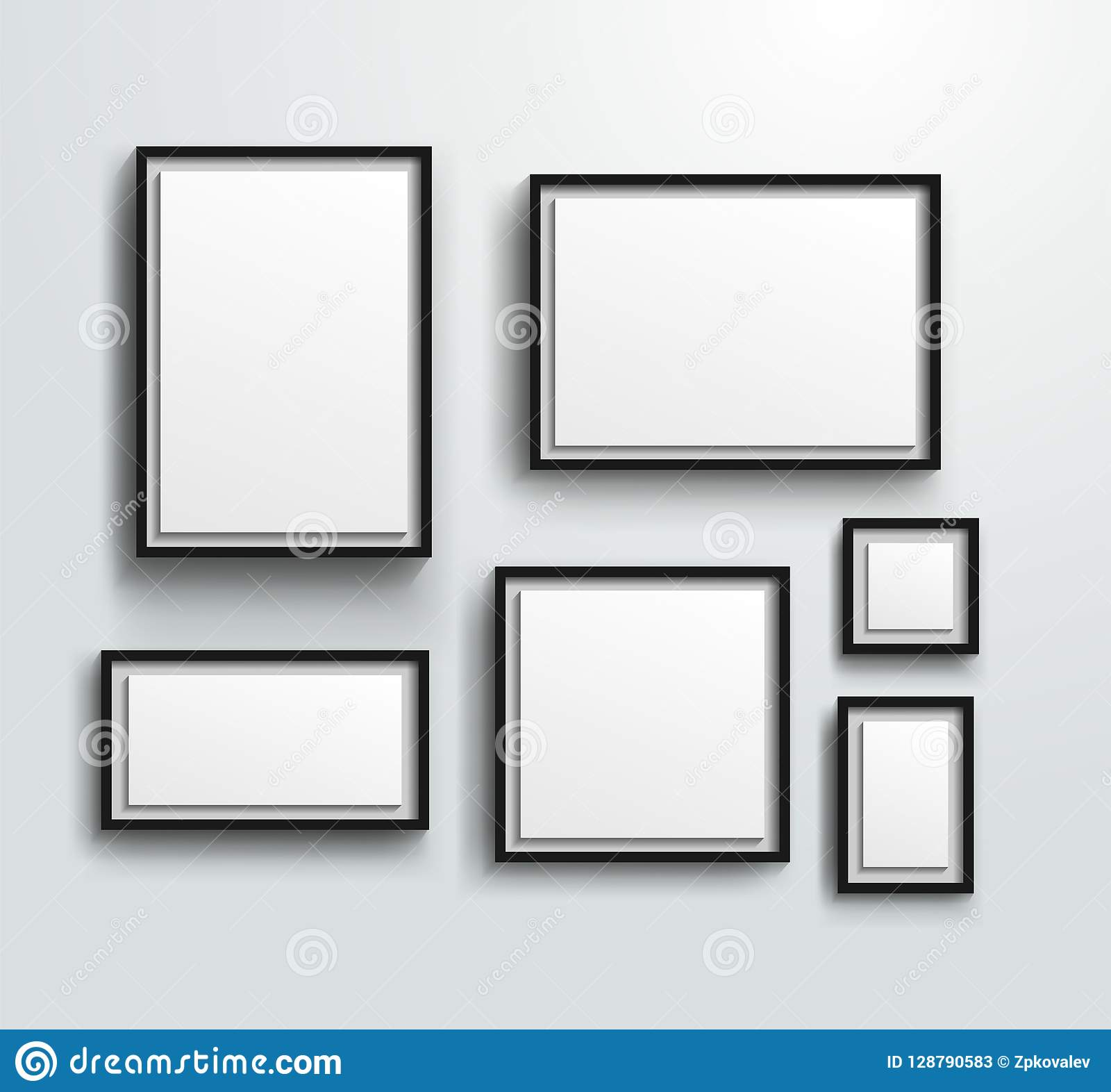 Blank Photo Frames On The Wall. Design For A Modern Interior ...