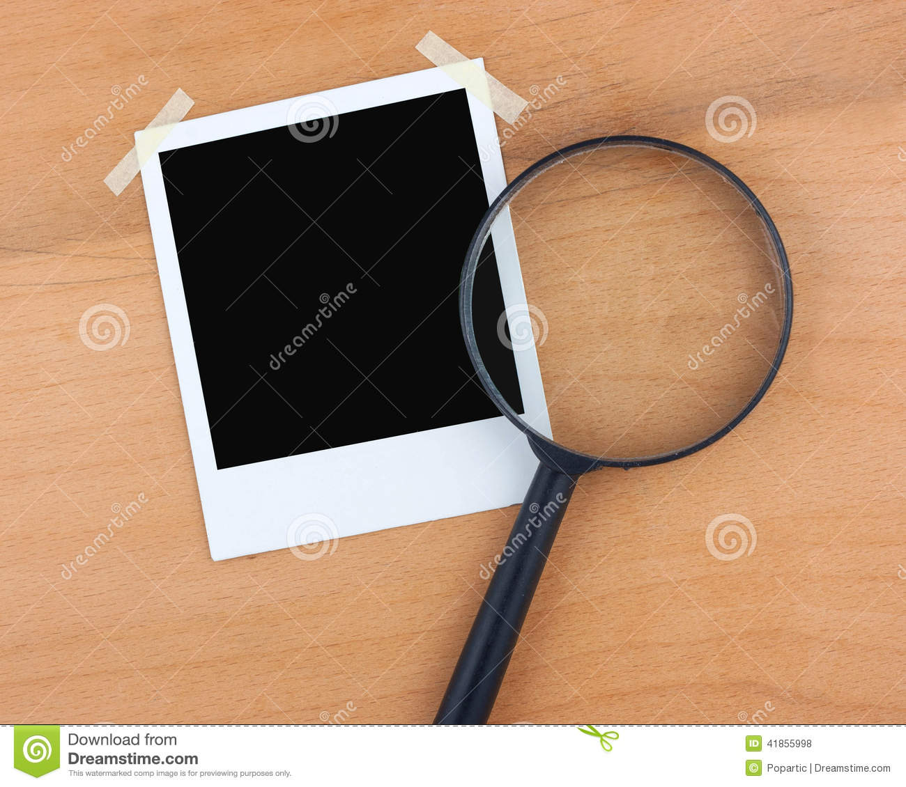 Blank photo and magnifier