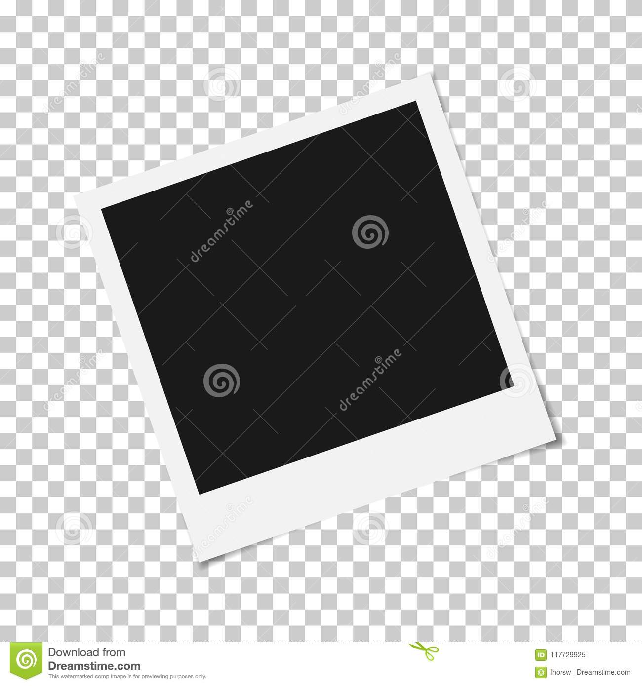 blank photo polaroid frame with adhesive tape isolated on